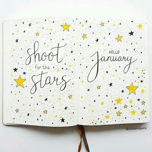 640x640 Bullet Journal Monthly Cover Page, January Cover Page, Confetti