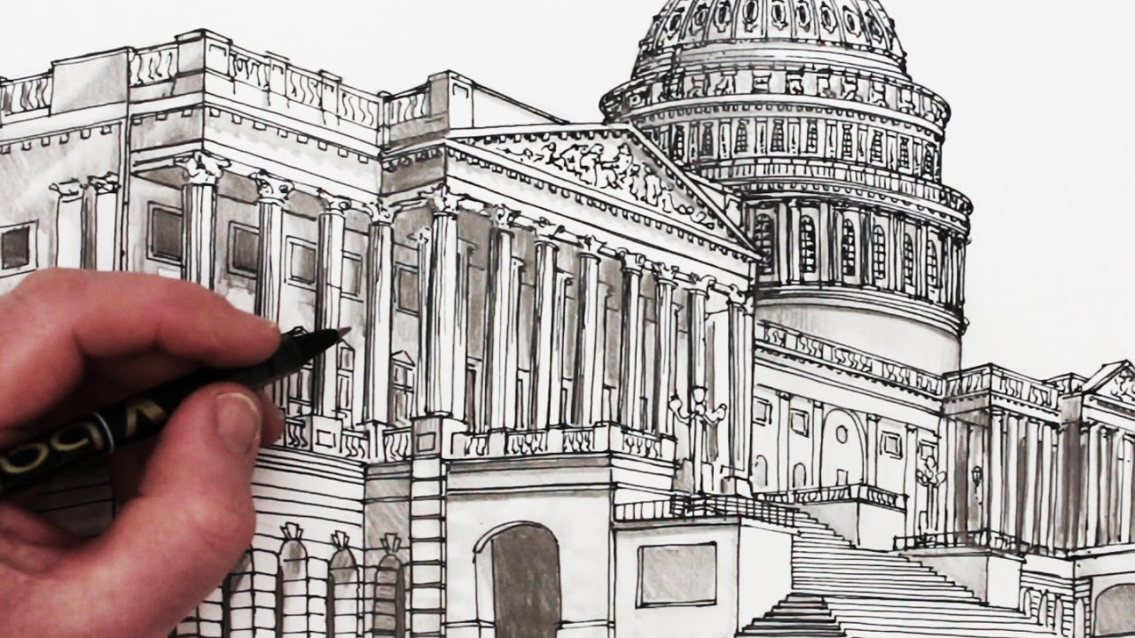 1280x720 How To Draw The Us Capitol Building Time Lapse Drawing