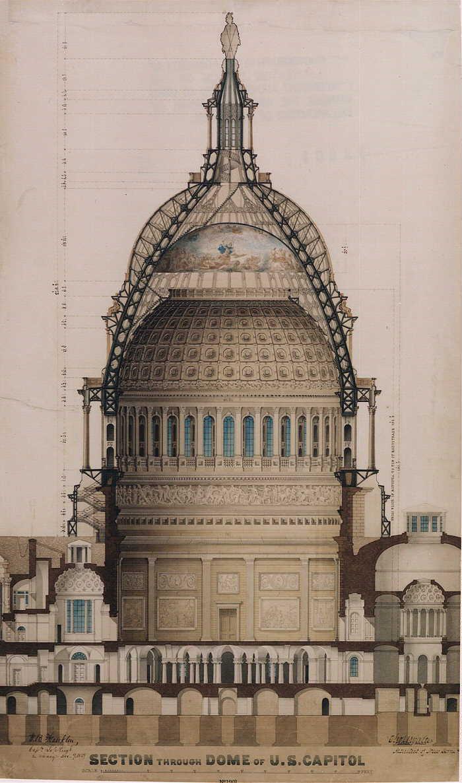 700x1186 Thomas U. Walter Through Dome Of U.s. 1859 Ink