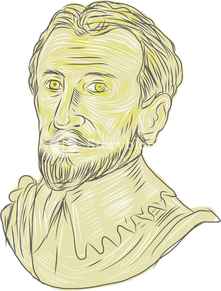 761x1000 Drawing Sketch Style Illustration Of A Bust Of A 15th Century