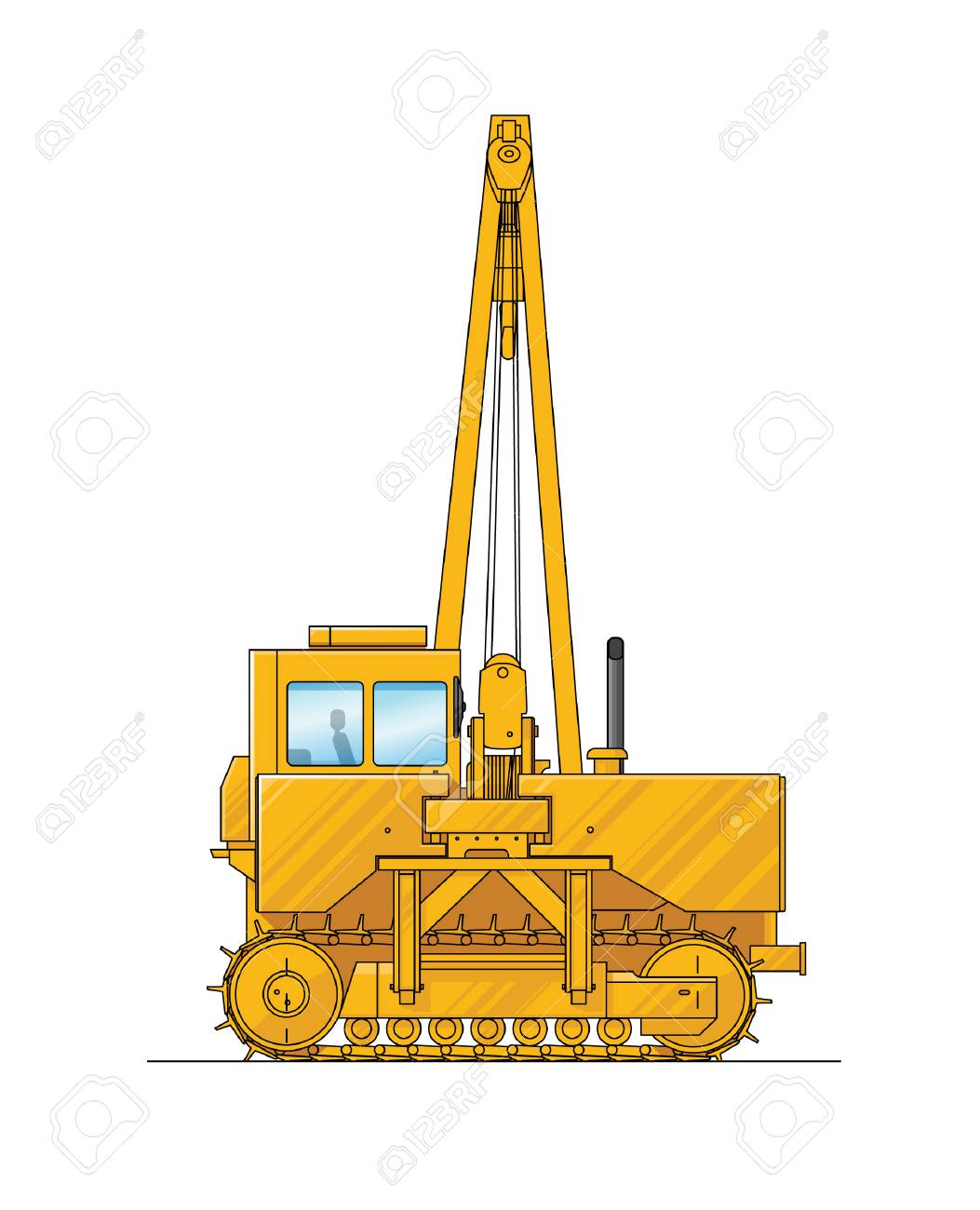 1053x1300 Drawing Of A Construction Crane. Illustration Of Special Equipment