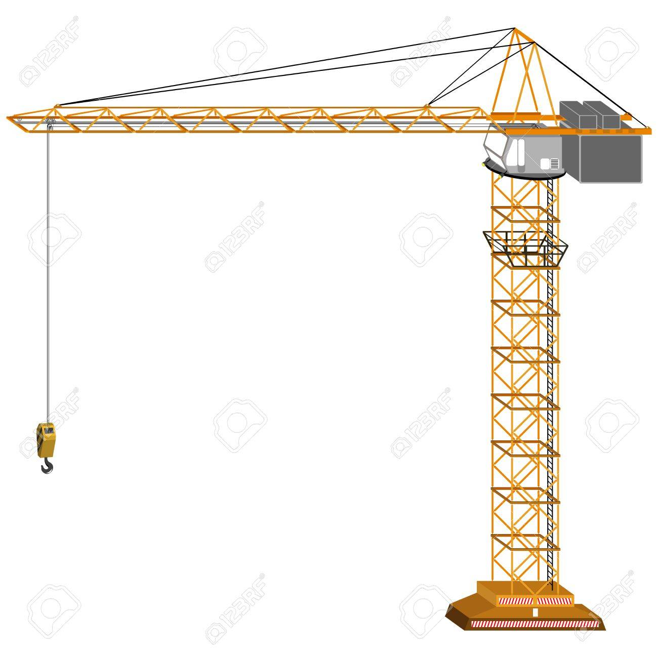 1300x1300 Tridimensional Crane Drawing, Isolated On White Background