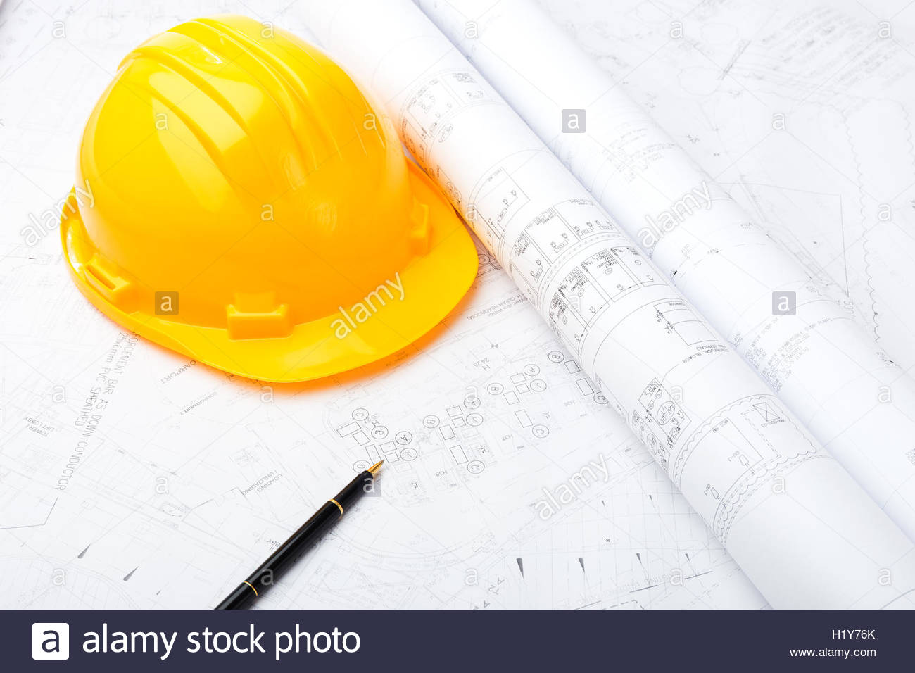 1300x956 Construction Drawing And Safety Helmet Stock Photo 121685611