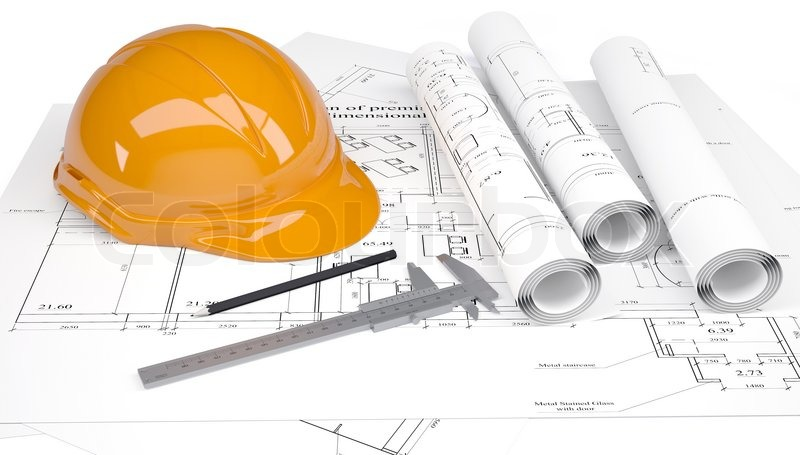 800x455 Construction Helmet And Calipers In The Drawings Stock Photo