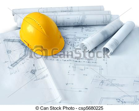 450x361 Construction Plans And Hard Hat. Construction Plans Drawings