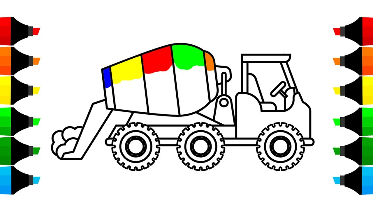1280x720 How To Draw Mixer Truck Construction Coloring Pages