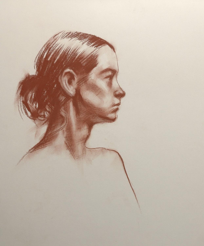 1245x1500 14x17 Original Conte Crayon Life Drawing Portrait Profile