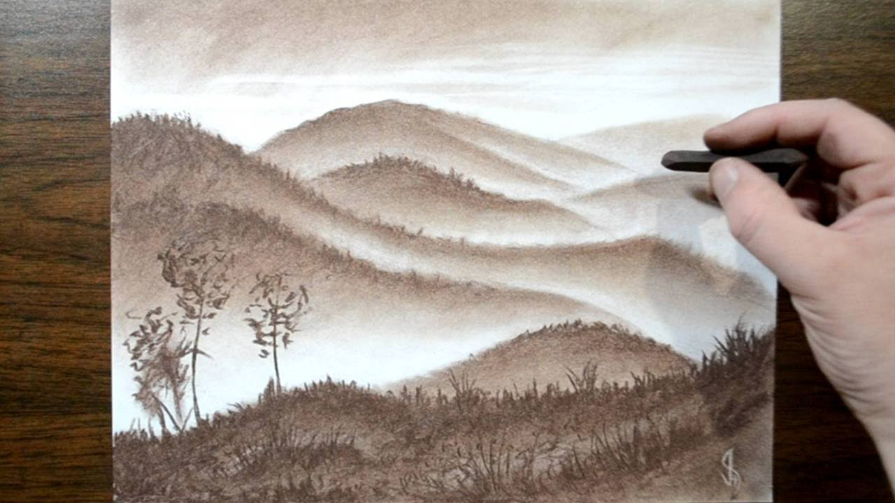 1280x720 Drawing A Misty Landscape With A Conte Crayon