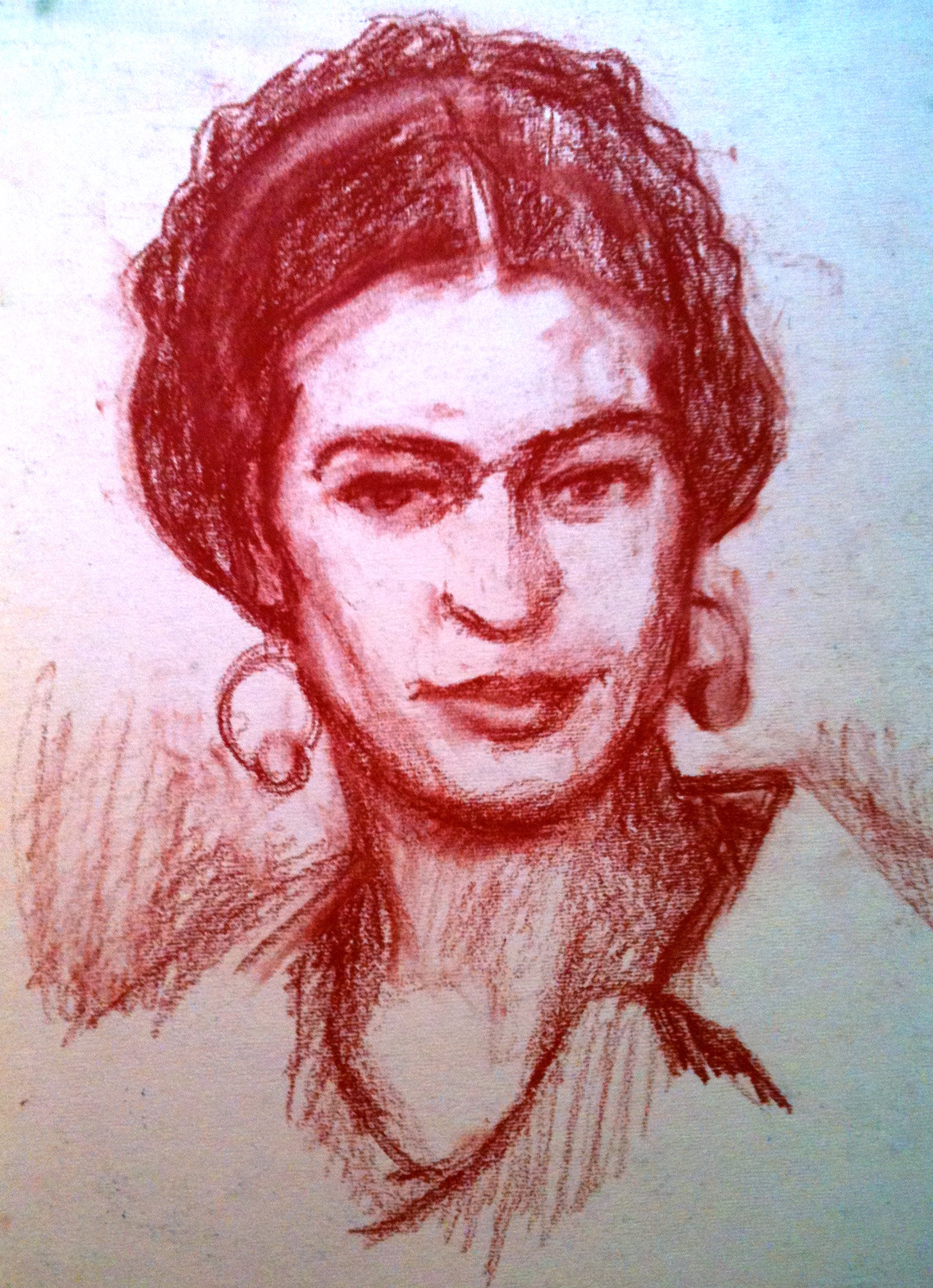 1458x2012 Freida Kahlo Conte' Crayon New York Drawing School