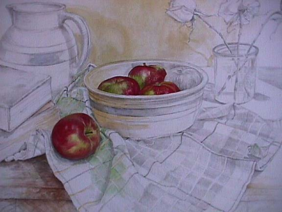 576x432 Joan Berg Victor Still Life With Apples, Books Amp Roses Item 503309