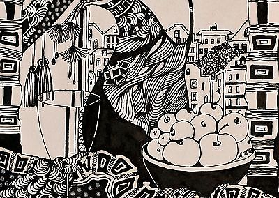 400x284 Still Life In Interior Contemporary Pen And Ink Drawing Sketch