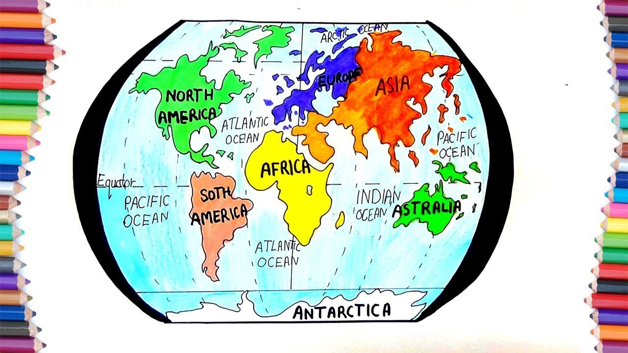 1280x720 How To Draw 7 Continent Of Earth For Kids