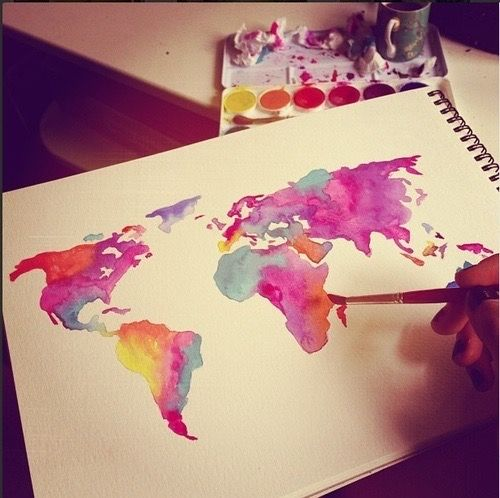 500x498 Colorful, Continents, Drawing, Earth, Planet Art.