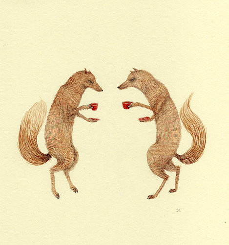 469x500 Conversation, Drawing, Fox, Foxes, Illustration