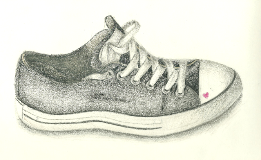 Worn Out Converse Shoes Drawing