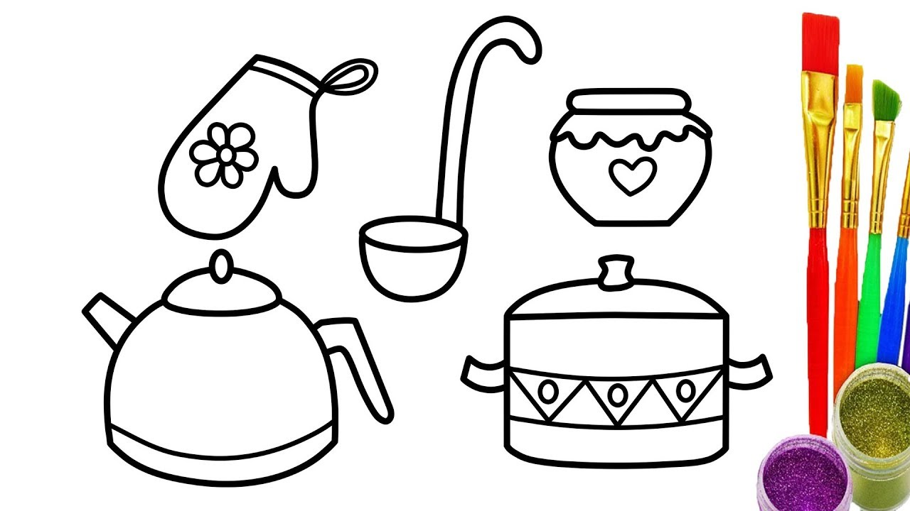 1280x720 How To Draw Kitchen Cooking Utensils Coloring Pages