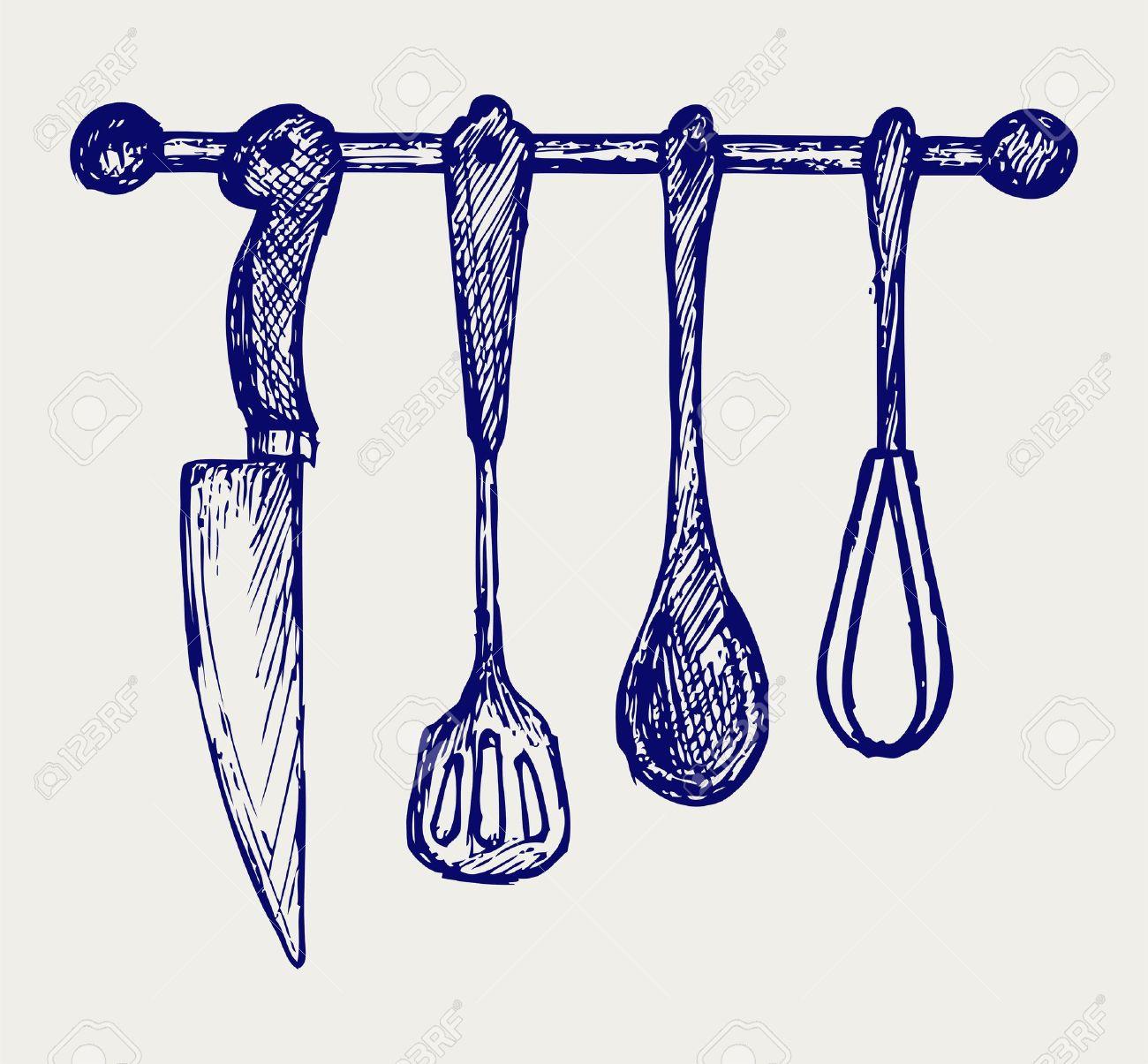how to draw kitchen utensils