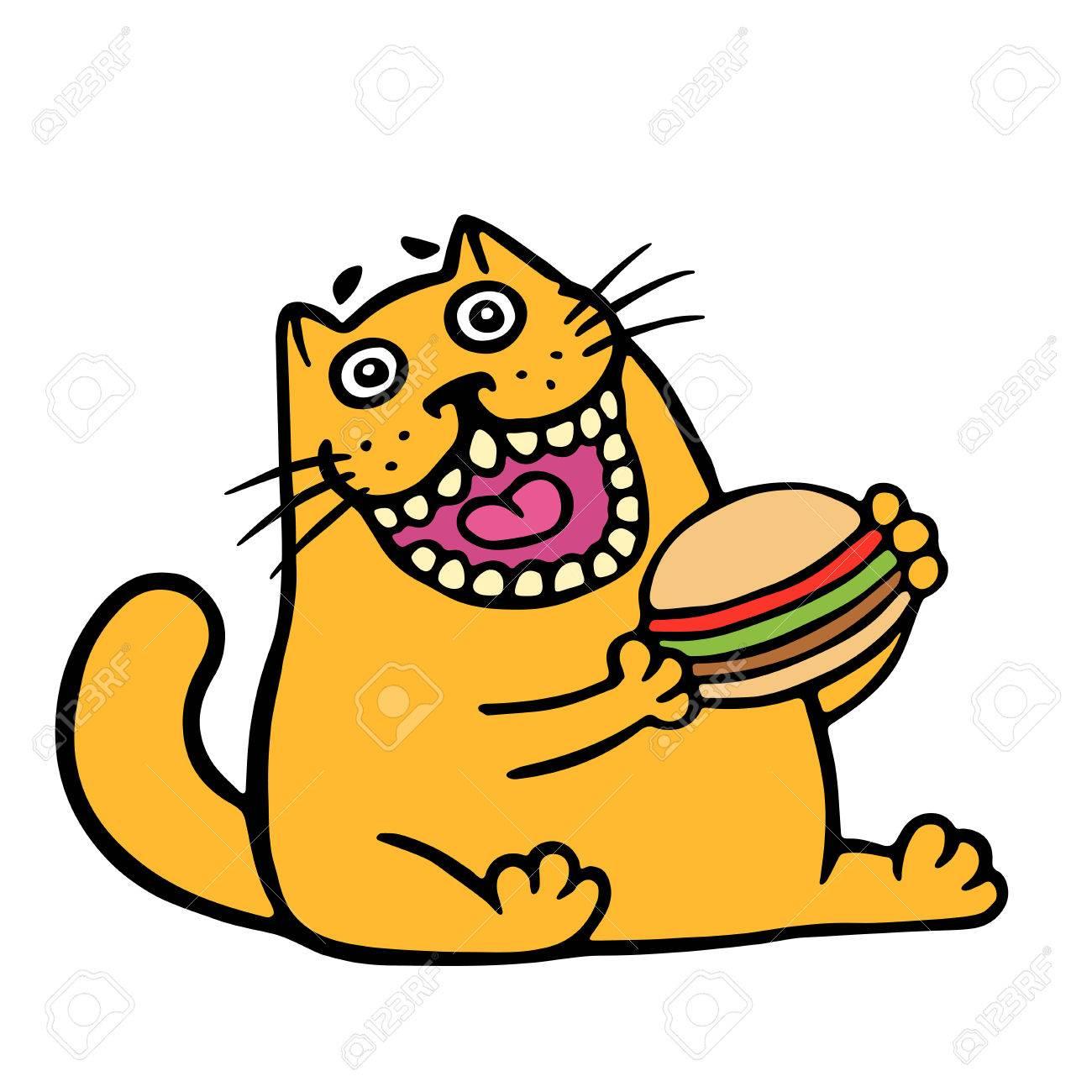 1300x1300 Cartoon Orange Cat Is Eating A Hamburger. Funny Cool Character