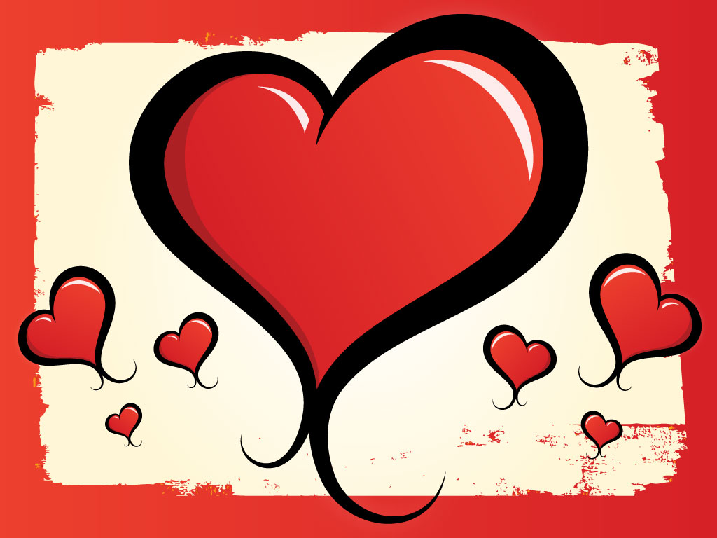 1024x768 Lovely Heart Drawing