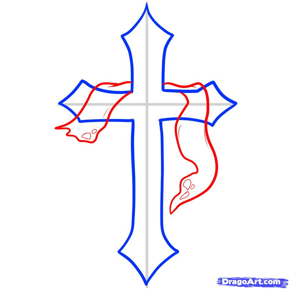 951x951 Cool Cross Drawings How To Draw A Cross, Cross, Stepstep, Stuff
