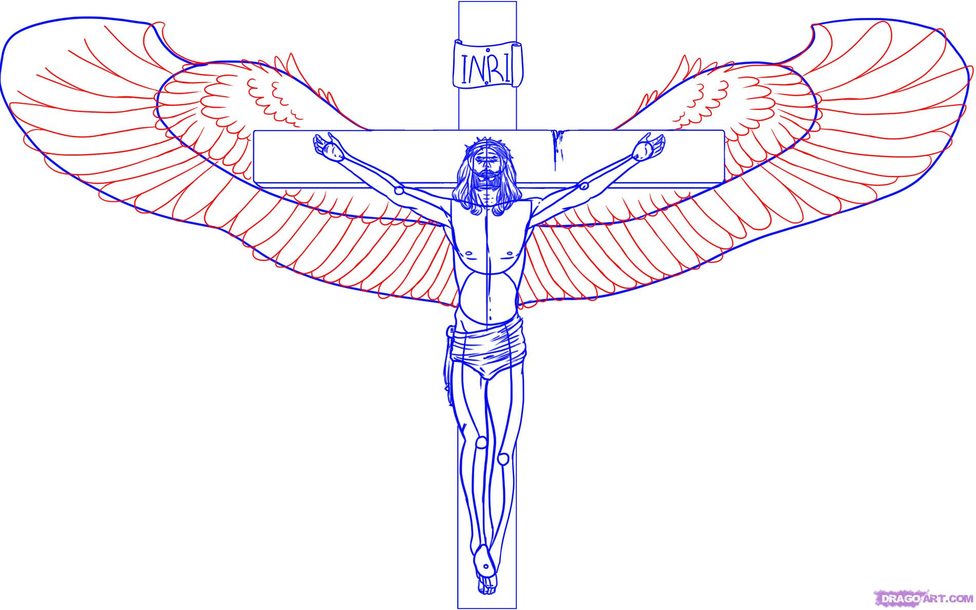 1900x1188 How To Draw Jesus On The Cross Step 5 Pinterest