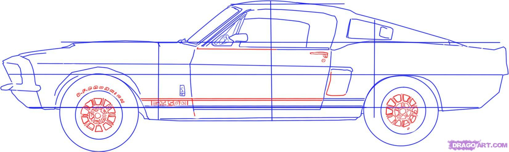 1651x494 How To Draw Muscle Cars Step By Step How To Draw Cool Cars