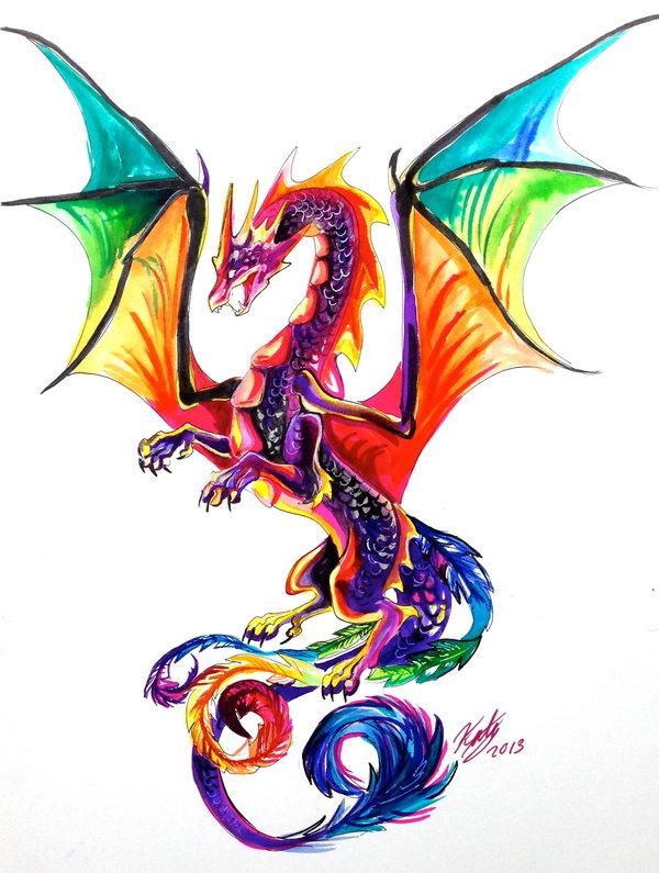 600x795 Rainbow Dragon Tattoo By Lucky978