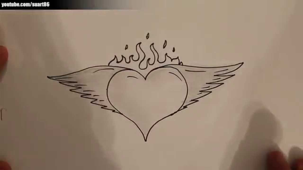 1280x720 How To Draw A Heart With Wings And Flames
