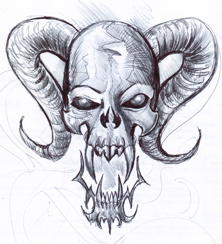 900x990 Gothic Skull Drawings Skull 5 Fast Sketch By Penerari