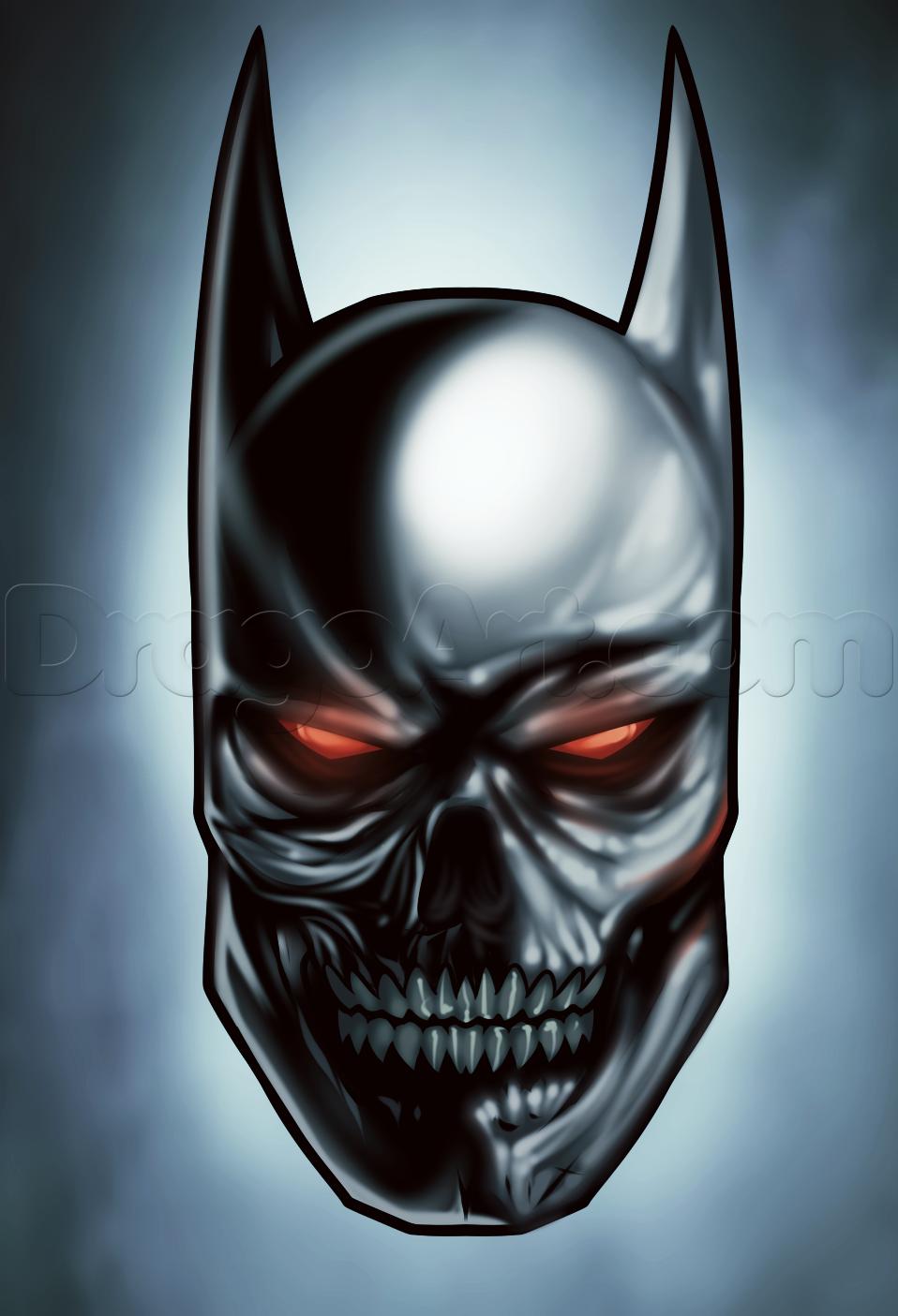 958x1405 How To Draw A Batman Skull, Step By Step, Dc Comics, Comics, Free