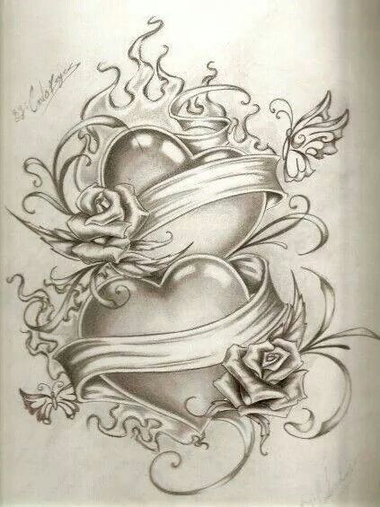423x565 2 Hearts Sketch Art Interest Tattoo, Tatting And Draw