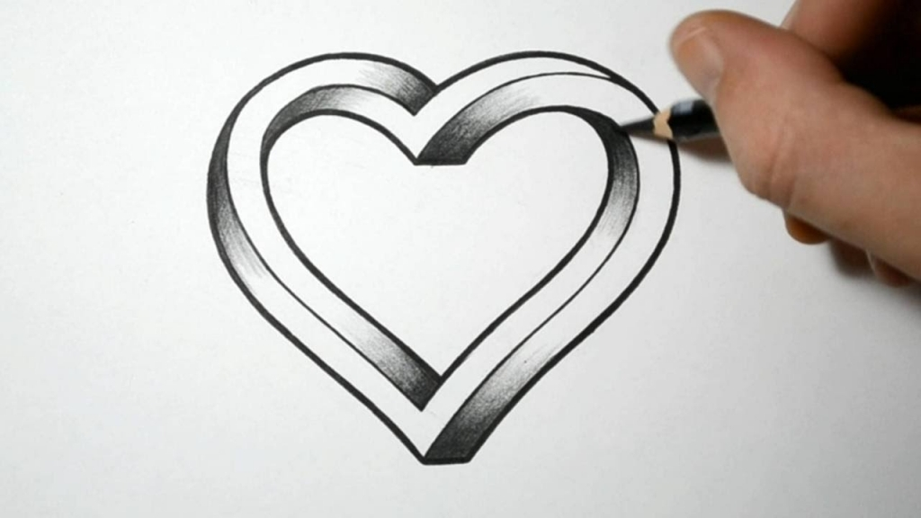1024x576 Cool Heart Drawing How To Draw An Impossible Heart Youtube