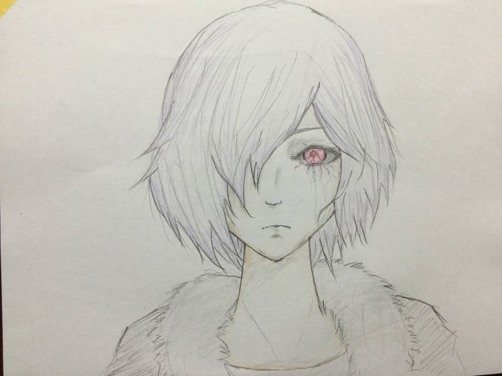 1024x768 How To Draw Manga Cool Girl Tokyo Ghoul Colored Pencil