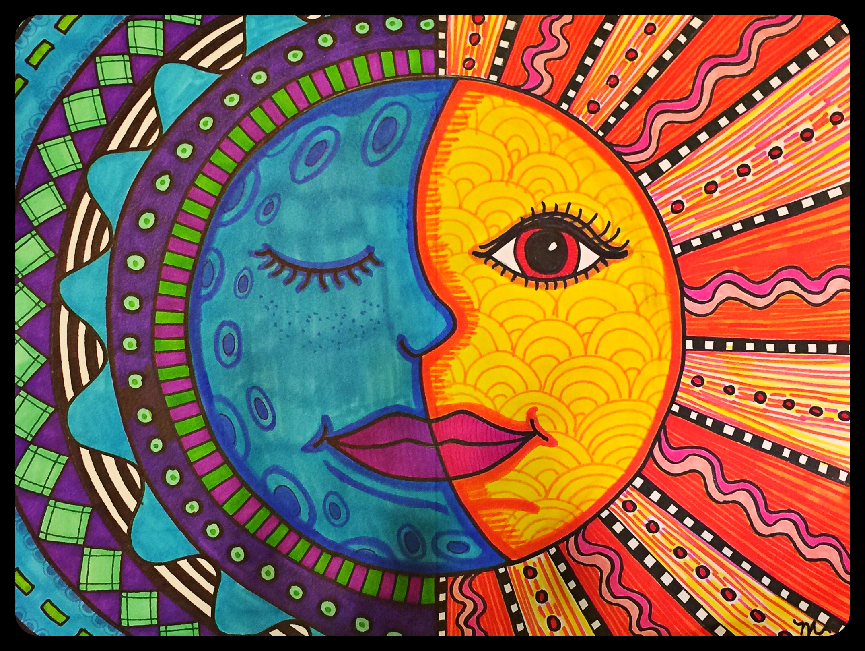 2150x1616 Warm Sun Amp Cool Moon Mexican Folk Art Project For Grades 3 5