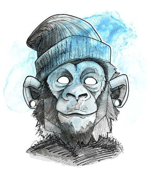 524x611 Cool Monkey Face On Behance Animals Monkey Art