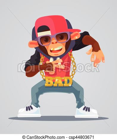 393x470 Cool Monkey Rapper Character In Modern Clothes. Vector Flat