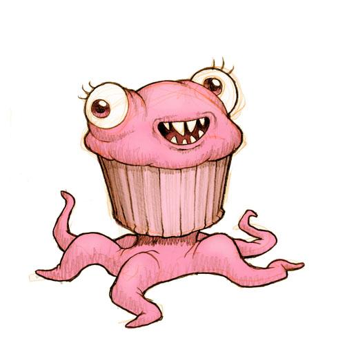 500x513 A Cupcake Monster Doodles Monsters, Drawings