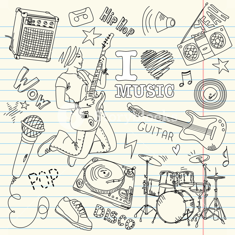 1000x1000 Cool Music Doodles Royalty Free Stock Image