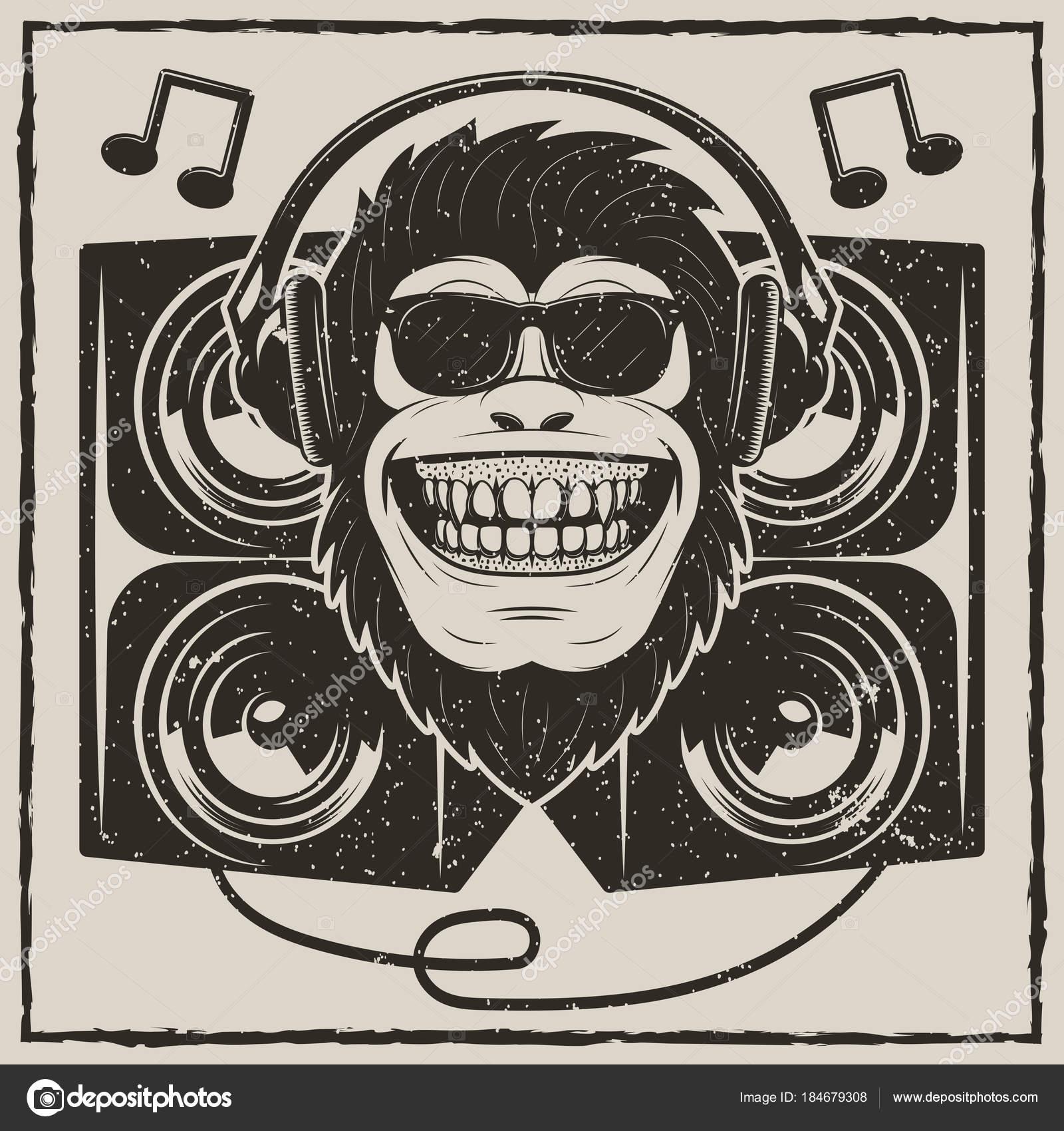 1600x1700 Cool Music Monkey Vector Grunge T Shirt Printing Design Stock