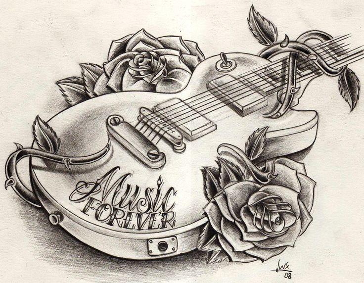 736x572 Guitar Tattoo Drawing Tattoos Guitar Drawing