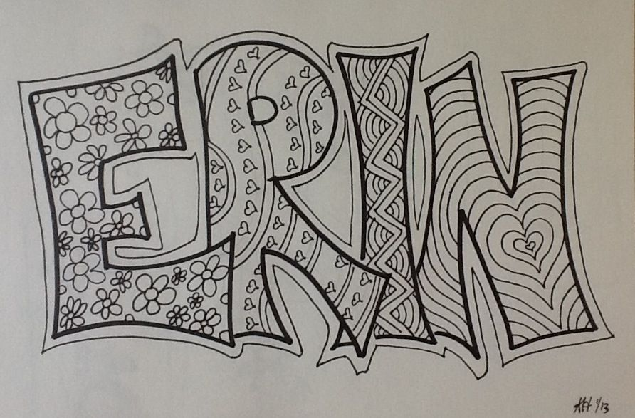 892x587 Name Design Idea For Cover. Name Negative Space. Zentangle