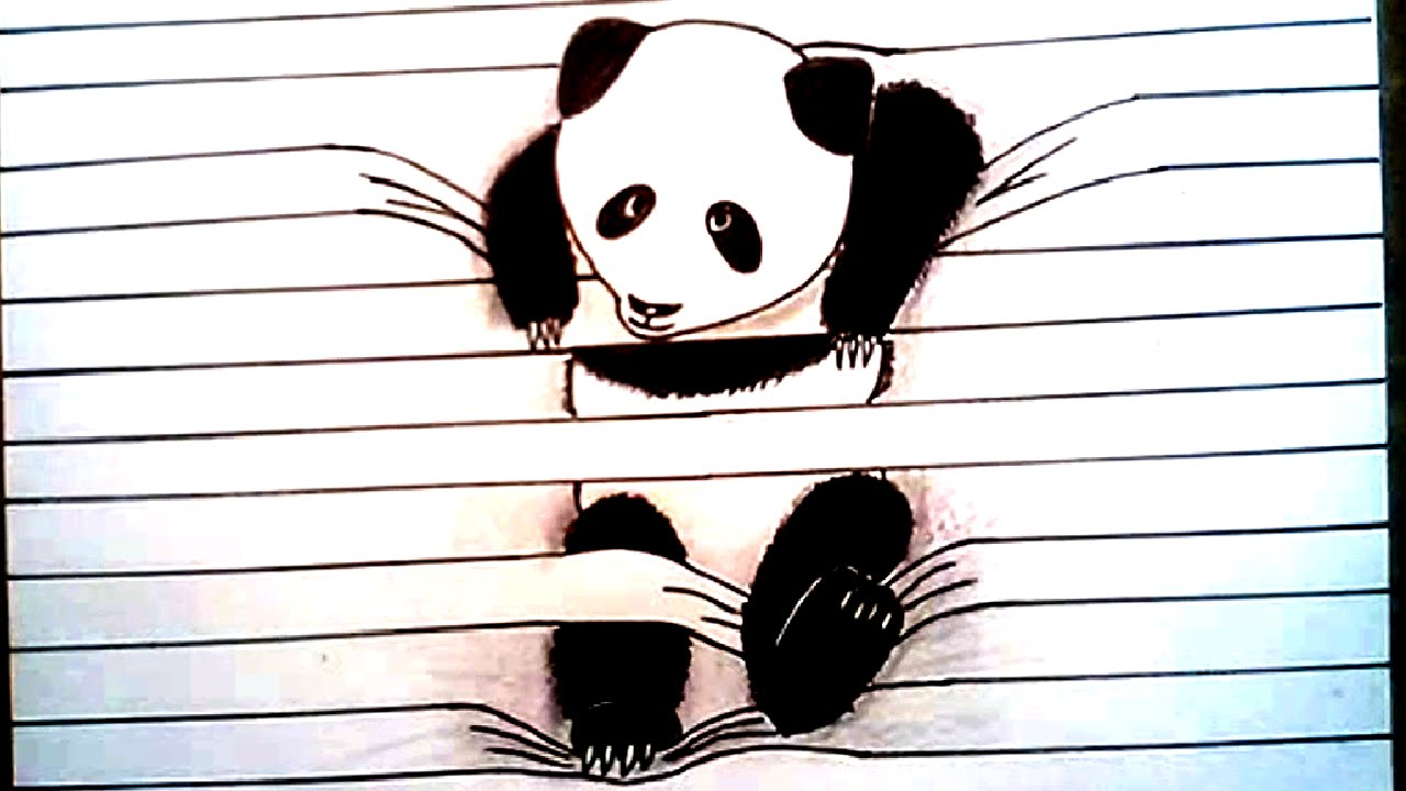 1280x720 HOW TO DRAW PANDA 3D Drawing Lined Paper Art Trick