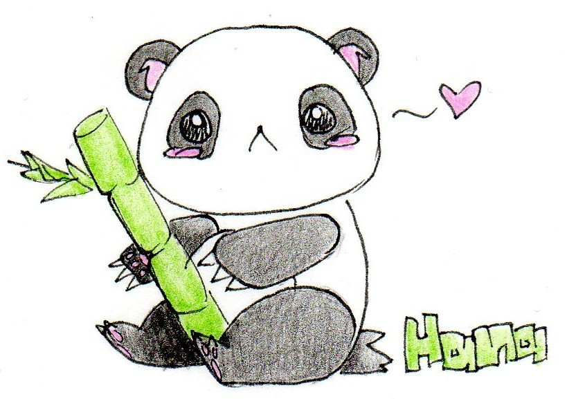 819x577 Cute Panda Drawing By Fishpaddle On DeviantArt