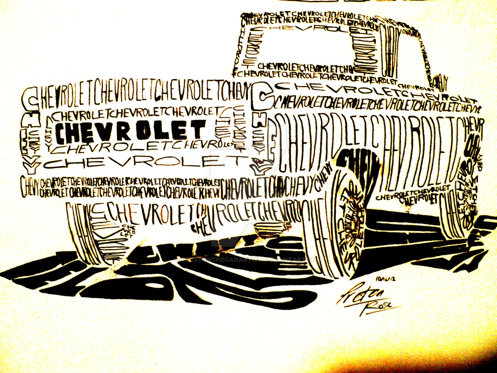 1024x768 Chevy Truck Drawing (Entirely Composed Of Words) By