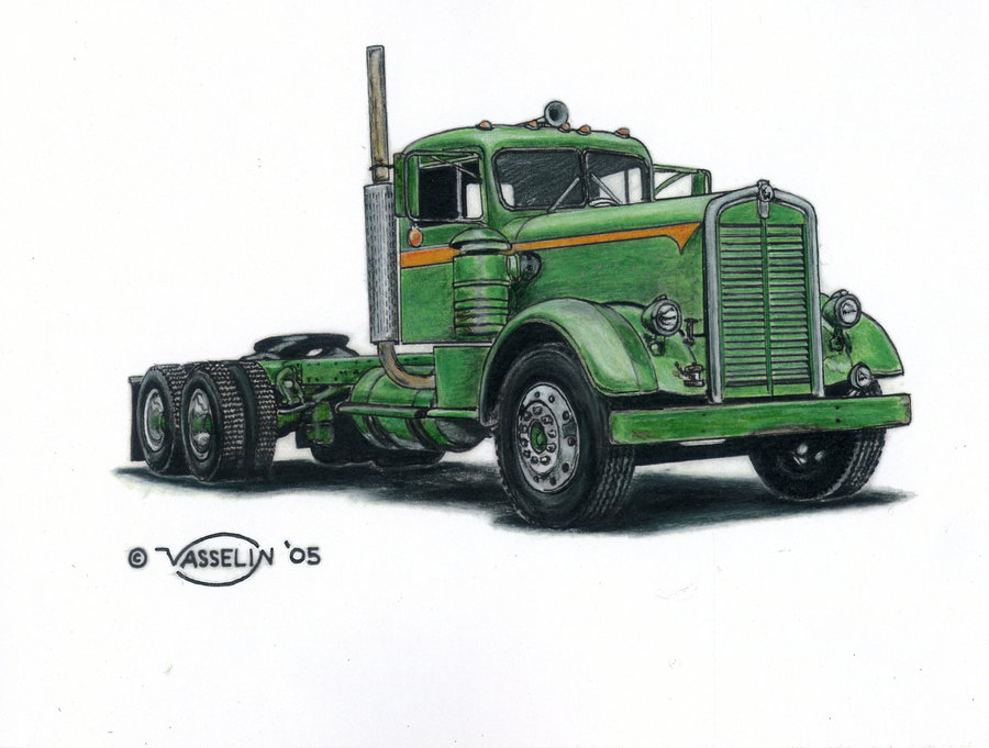 900x681 Kenworth Truck Drawing By Who515