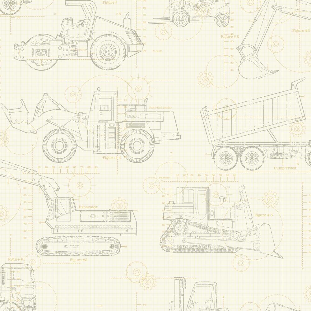 1000x1000 York Wallcoverings Cool Kids Construction Blueprint Wallpaper