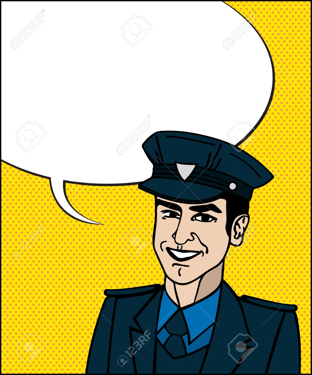 1083x1300 Comic Style Drawing Of A Police Officer Friendly Face With Speech