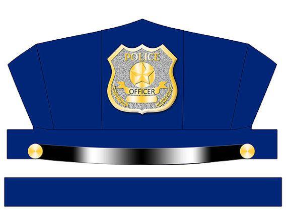 570x441 Digital Download Blue Police Hat Printable Digital, Scrapbook