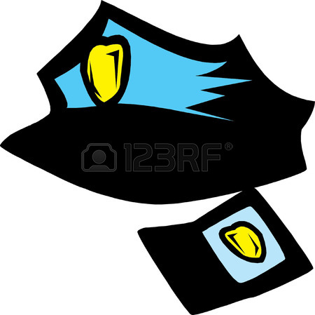 450x449 Vector Illustration Of Human Skull In Police Cap And Crossed