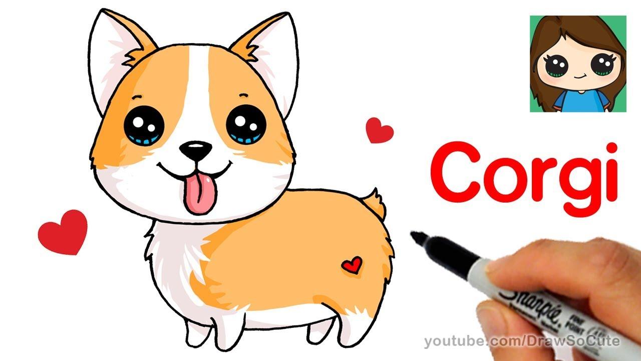 1280x720 How To Draw A Corgi Easy Cartoon Dog